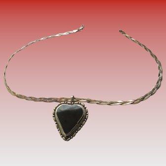 925 Silver Black Onyx Heart Necklace