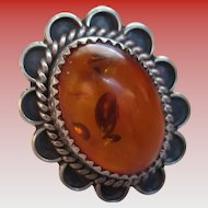 925 Sterling Amber Stone Ring
