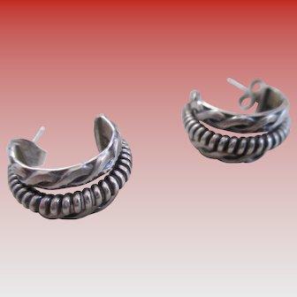 Silver 925 Solid Hoop Post Earrings