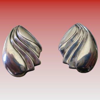 Silver 925 Seashell Style  Post Earrings