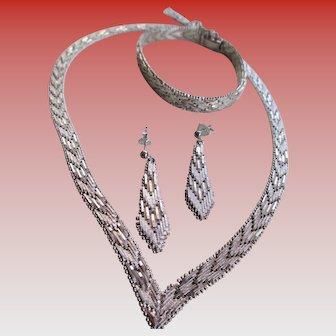 Italian 925 Silver Mesh Set Necklace, Bracelet,Earrings