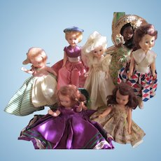 Vintage Lot of  7 / 1 Bisque/Celluloid StoryBook/ 1 K&H Dolls