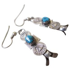 Silver 925 Pair of Turquoise Squash Blossom Wire Earrings
