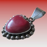 Silver 925 Mexico Coral Heart Pendent