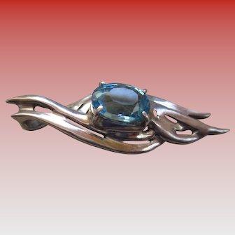 Silver 925 Blue Topaz Contemporary Pendent