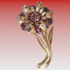 Amethyst Colored Glass Flower Brooch