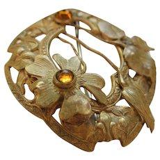Czech Art Deco Brass  Brooch