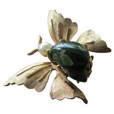 Vintage B.S.K Goldtone/onyx Butterfly Brooch