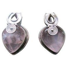 Silver Sterling 925 Lavender Quartz Post Earrings