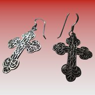 Silver 925 Sterling Filigree Cross Wire Earrings