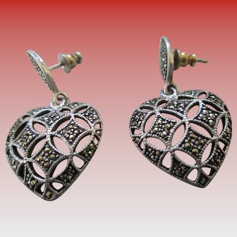 925 Sterling Marcasite Heart Post Earrings