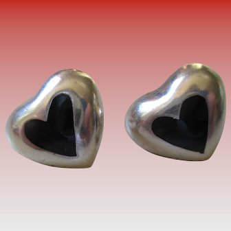 925  Mexico Silver Onyx Heart Post Earrings