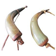 Vintage Pair of Bovine Powder Horns