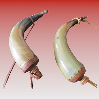 Vintage Pair of Bovine Powder Horns