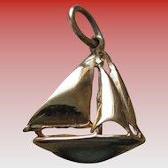 14K Yellow Gold Sail Boat Charm