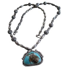 Turquoise Cabochon Stone and Silver Necklace