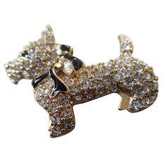 Monet Goldtone-Enamel Scottie Dog Pin
