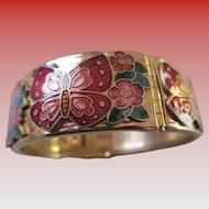 Cloisonne Butterfly Hinged Bracelet
