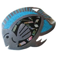 Silver 925 Mexico Turquoise ,Onyx Fish Pendent/Brooch