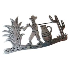 Silver 925 Mexico Agave  Cactus Pin