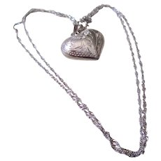 Silver 925 Puffed Heart Necklace