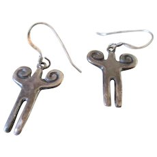 Silver 925 Trades Shaman Shape Wire Earring