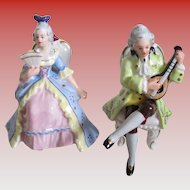 Victorian Dressed Couple -Crown R Miniture Porcelain Figurines