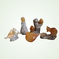Hand Carved Set of 5 Agate Figurines