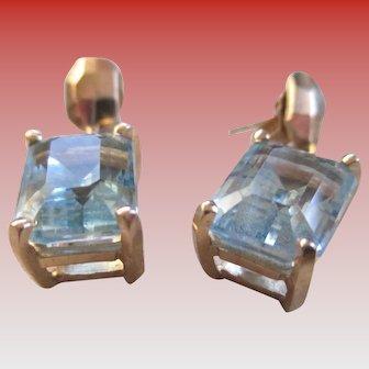 Blue Topaz 14 k Gold Post Earrings