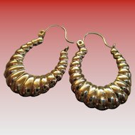14k Shell Hoop Wire Earrings