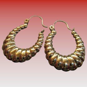 14k Shell Hoop Wire Earrings