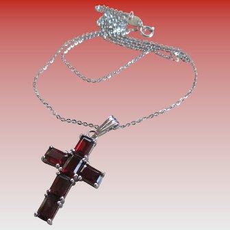 Sterling 925 Tourmaline Cross Necklace.