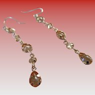 Gold 14 kt Citrine Teardrop Wire Earrings