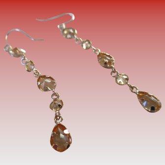 Gold 14 kt Citrine Teardrop Wire Earrings