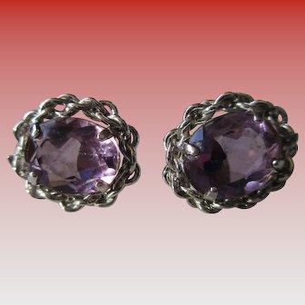 Silver Sterling Violet Tanzanite Post Earrings