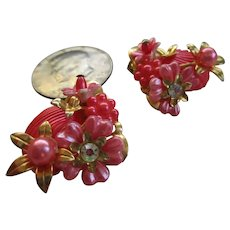Beau Jewels Lucite Seashell Clip on Earrings