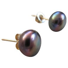 14 k Tahitian Cultured  Button Pearl Post Earrings