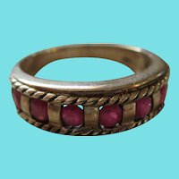 Vintage Silver 925 Simulated Ruby Ring