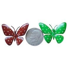 1970s Coro Vintage Enamel/Rhinestone Large Butterfly Pins