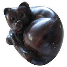 Vintage Netsuke Carved Wood Cat