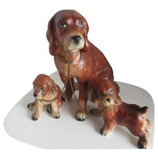 1950s Spaniel Mother and Two Pup Figurines