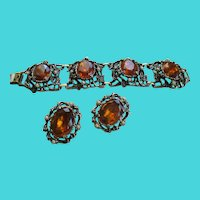Amber Glass Colored Bracelet and Clip Earring Set