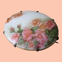 1800s Hand Painted Roses/Milk Glass  Brooch