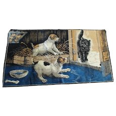 Tapestry Two Pups and Kitten