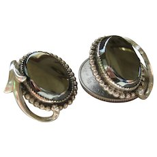 Whiting and Davis Hematite Clip on Earrings