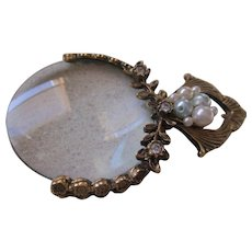 Sewing Goldtone Faux Pearl/Rhinestone Magnifier Glass