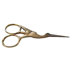Vintage Figural Heron Bird Embroidery Sewing Scissors -Germany