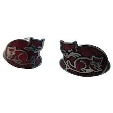 Red Enamel Post Cat Earrings