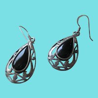 Silver 925  Black Onyx Teardrop Wire Earrings