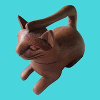 Hand Carved Cat Trinket Box